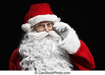 vrolijk, verticaal, claus, brillen, kerstman