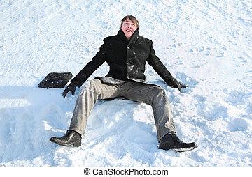 vrolijk, voorbereiden, sneeuw, werpen, student, zit, maakt, hem, omhoog