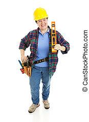 vrolijk, vrouw, bouwsector