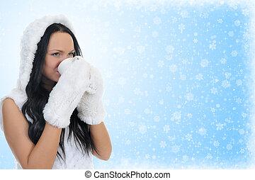 vrolijk, warme, vrouw, kleding, hat.