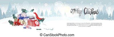 vrolijk, winter, op, groet, stapel, kadootjes, landschap ontwerp, bos, achtergrond, horizontaal, vakantie, spandoek, kerstmis kaart