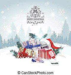 vrolijk, winter, op, groet, stapel, kadootjes, landschap ontwerp, bos, achtergrond, vakantie, kerstmis kaart