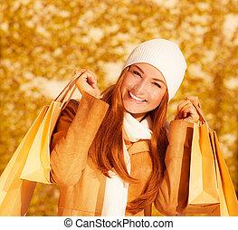 vrolijk, zakken, vrouw, papier