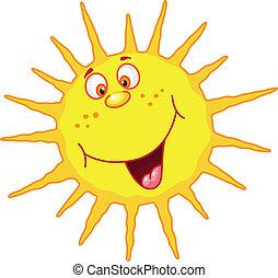 vrolijk, zon