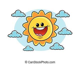 vrolijk, zon, karakter