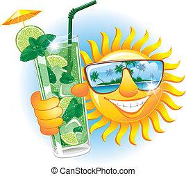 vrolijk, zon, met, cocktail