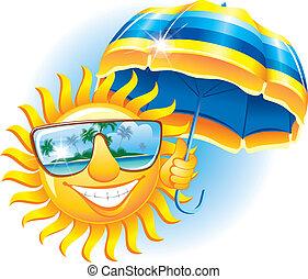 vrolijk, zon, paraplu