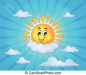 vrolijk, zon, thema, 5, beeld
