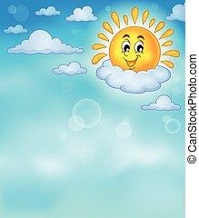 vrolijk, zon, thema, beeld, 4
