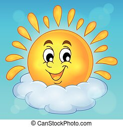 vrolijk, zon, thema, beeld