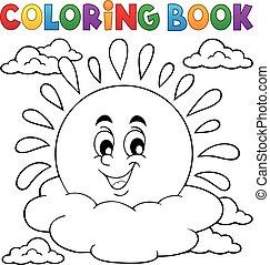 vrolijk, zon, thema, kleurend boek