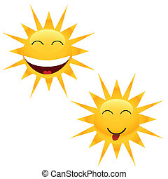 vrolijk, zon, twee