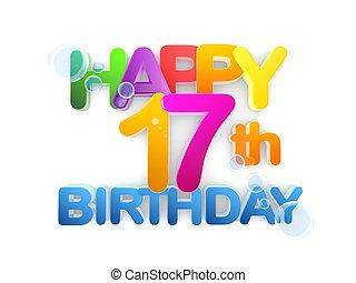 jarig 17 17, jarig, partij. 17, illustratie, numbers., verjaardagsfeest  jarig 17