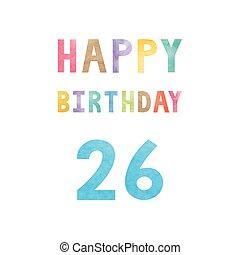 vrolijke , 26th, jarig, verjaardag kaart
