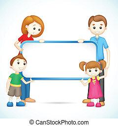 vrolijke , 3d, gezin, in, vector, vasthouden, plakkaat