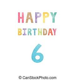 vrolijke , 6, jarig, verjaardag kaart