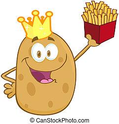 vrolijke , aardappel, met, kroon