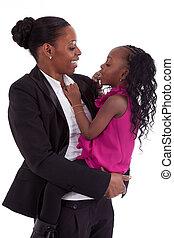 vrolijke , afrikaan, dochter, haar, moeder