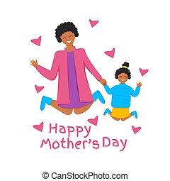 vrolijke , afrikaan, gezin, springt, illustratie, vector