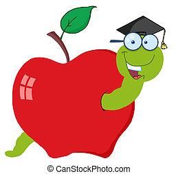 vrolijke , afstuderen, worm, in, appel