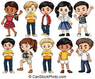 vrolijke , anders, acties, kinderen, set