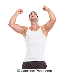 vrolijke , atleet, mannelijke , succes, het verheugen zich