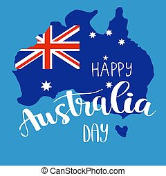 vrolijke , australië, dag, lettering, kalligrafie