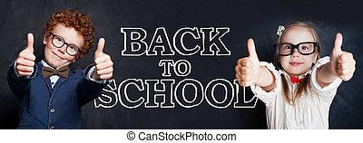 vrolijke , back, school, concept, geitjes