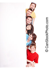 vrolijke , banner., groep, mensen