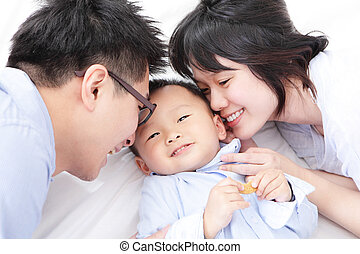 vrolijke , bed, gezin, kinderen