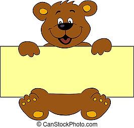 vrolijke , beer, met, spandoek