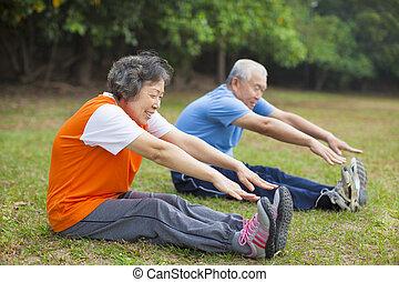 vrolijke , bejaarden, ouwetjes, paar, het uitwerken, in park