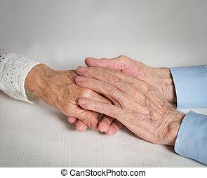 vrolijke , bejaarden, paar., oude mensen, vasthouden, hands.