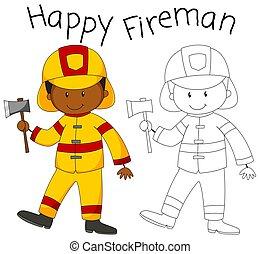 vrolijke , bijl, brandweerman