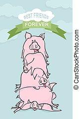 vrolijke , birthday., bos van, pigs.