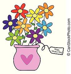 vrolijke , bloemen, dag, moeders