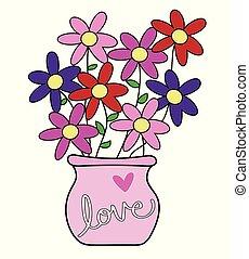 vrolijke , bloemen, dag, valentines
