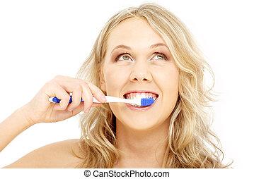 vrolijke , blonde , met, tandenborstel