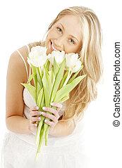 vrolijke , blonde , met, witte , tulpen, #2