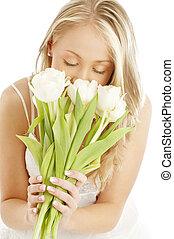 vrolijke , blonde , met, witte , tulpen