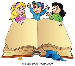 vrolijke , boek, open, geitjes
