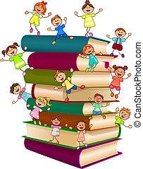 vrolijke , bovenzijde, boekjes , stapel, kinderen