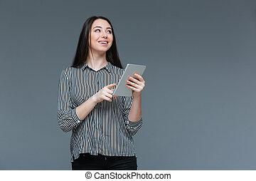 vrolijke , businesswoman, vasthouden, tablet, computer