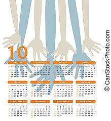 vrolijke , calendar., handen, vector