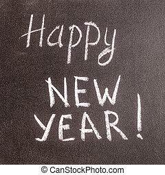 vrolijke , chalkboard, jaar, 2016, nieuw