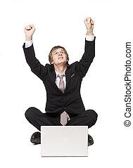vrolijke , computer, man