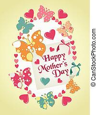 vrolijke , dag, illustratie, moeders