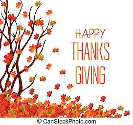 vrolijke , dankzegging, day., dalingsbladeren, achtergrond