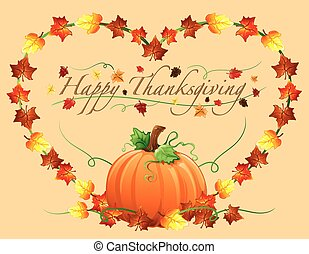 vrolijke , dankzegging, hart, en, pumpki