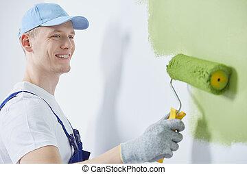vrolijke , de arbeider van de bouw